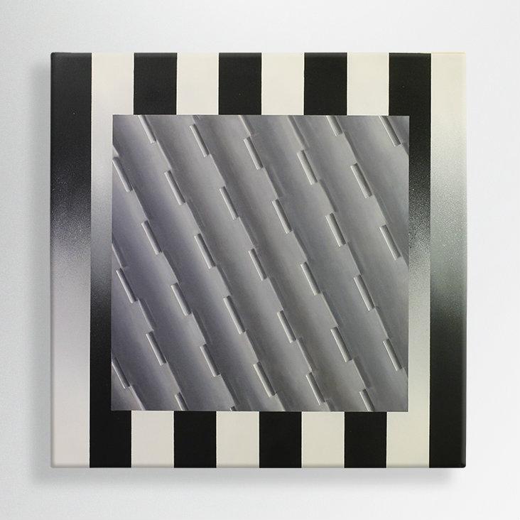 oil + spray paint on canvas 100/100 cm